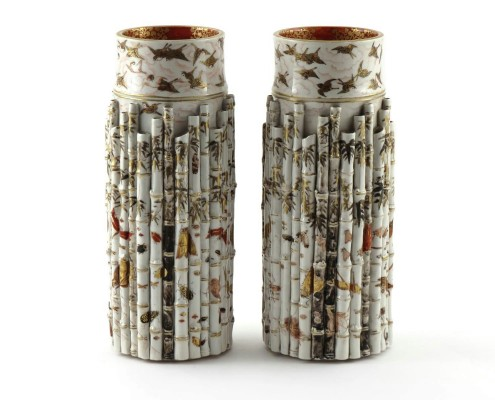 a pair of Japanese Kutan vases